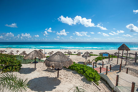 Cancun Beaches with Palapas