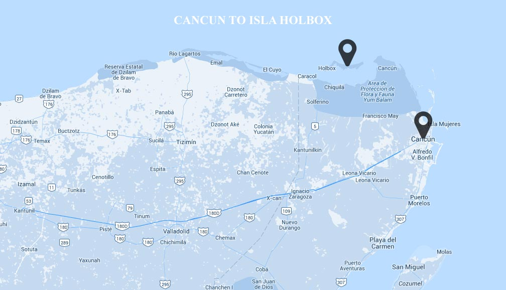 Map of Cancun to Holbox