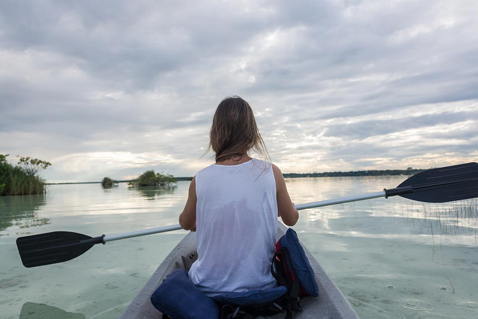 Canoeing at Lake Bacalar