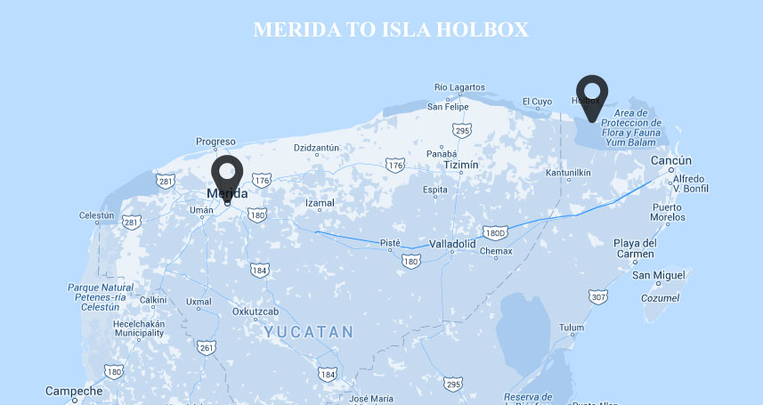 Map of Merida to Holbox Mexico