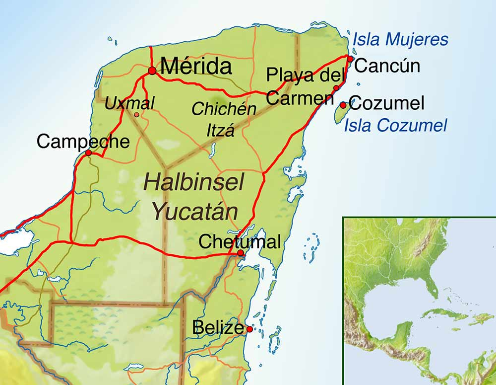 Yucatan Peninsula Map